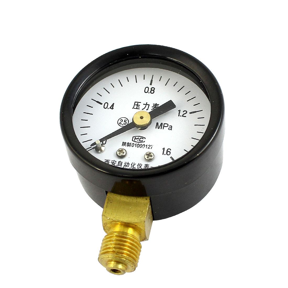 Black Shell 1/8PT Male Threaded 0-1.6Mpa Pneumatic Air Pressure Gauge