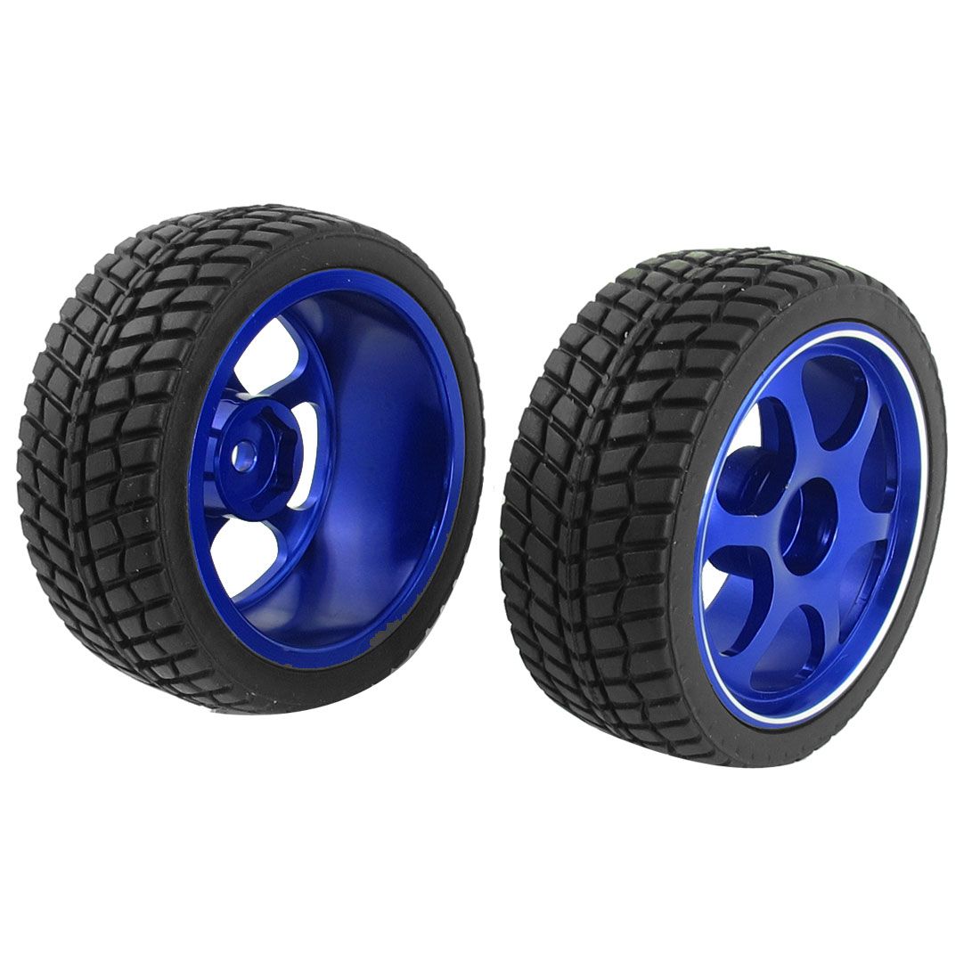 2pcs Black Blue 67mm Wheel Tire for RC Model 1:10 Scale Flat Racing Car