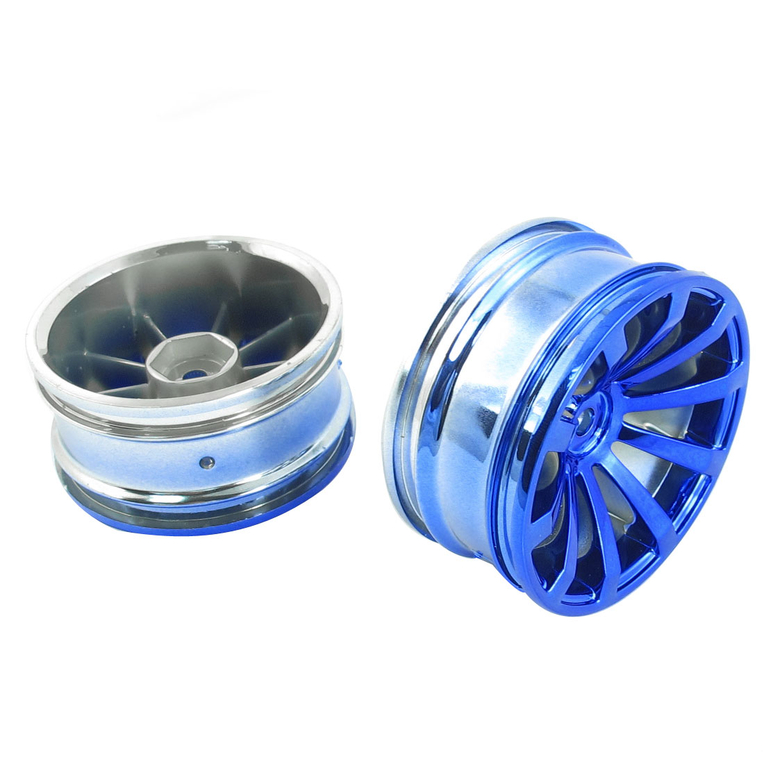 2 Pcs Blue Drift Chrome Wheel Rim for 1/10 Scale RC Racing Car