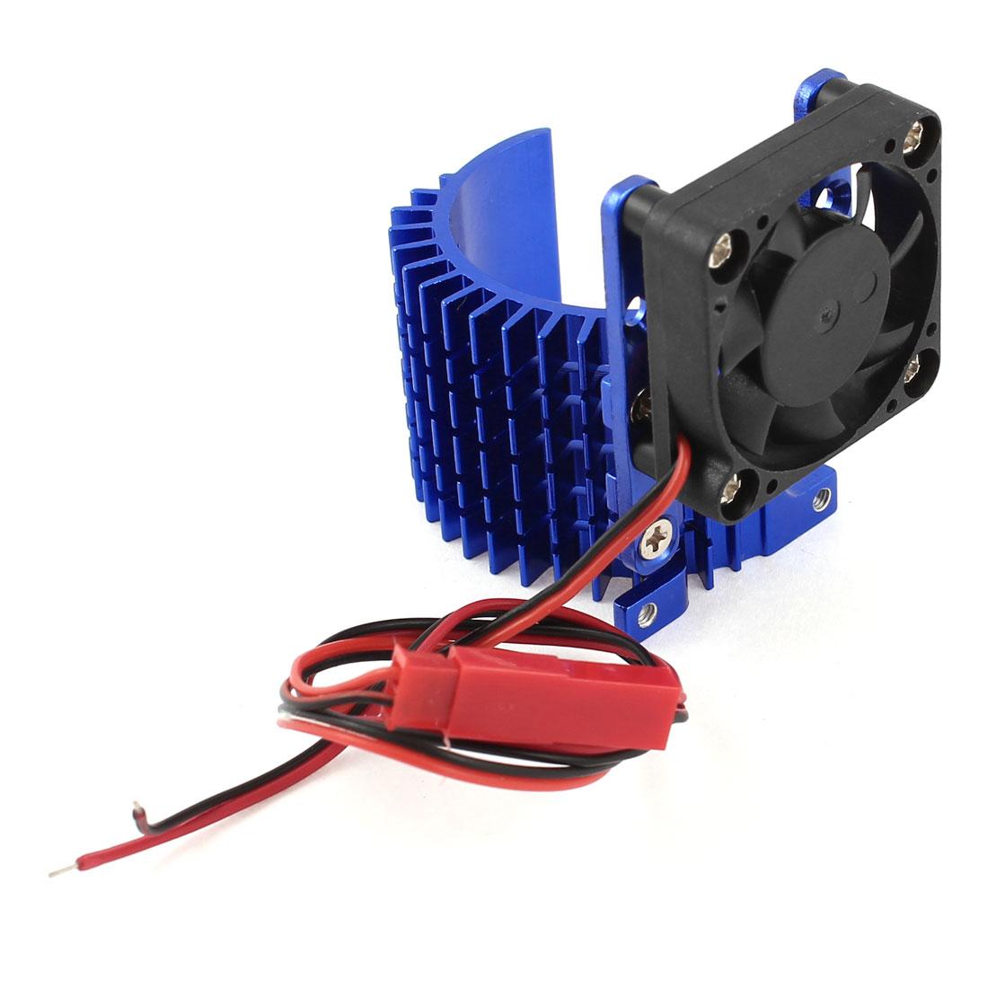 Blue Aluminum Alloy Heatsink w 5V Cooling Fan for 1/10 Car 540 3650 Size Motor