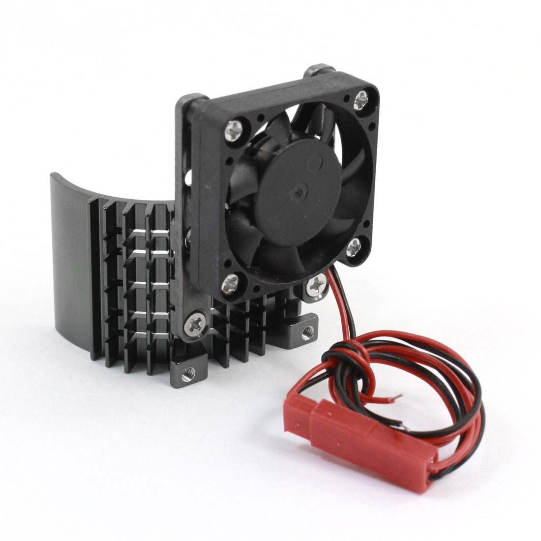 Black Aluminum Alloy Heatsink w 5V Cooling Fan for 1/10 Car 540 3650 Size Motor