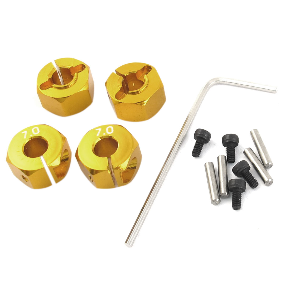 4 Pcs Gold Tone Aluminum Hex Adapter 7mm for 1/10 RC Model Racing Car