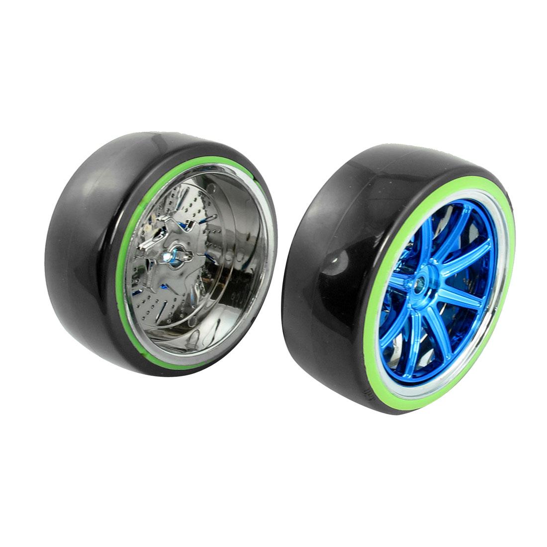 2pcs Black Blue 1:10 RC Model Flat Racing Car Truck Chrome Wheel Tyre 64mm Dia
