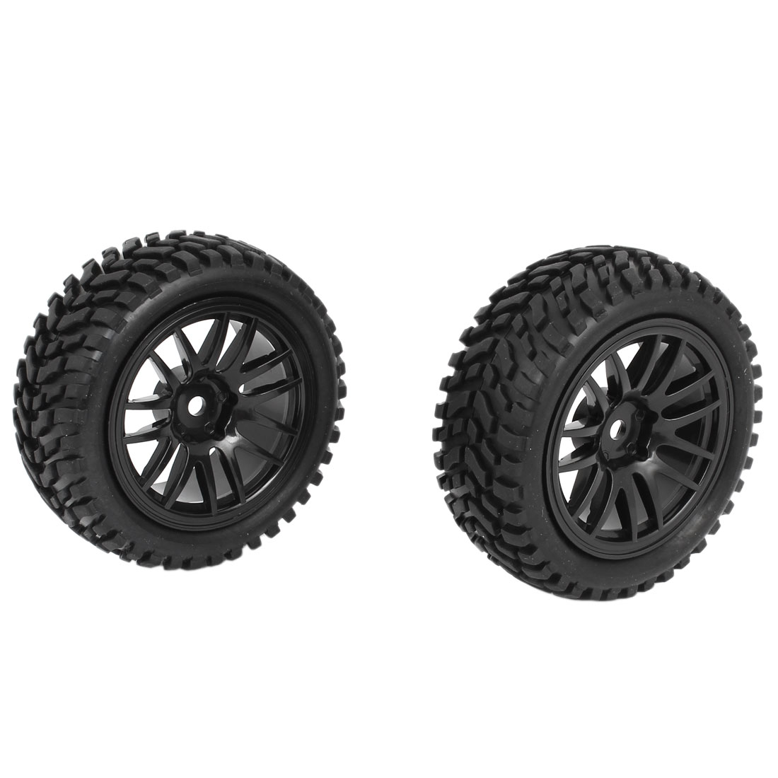 2pcs Black Wheel Rim Tyre 75mm Dia for 1:10 1:16 RC Model Flat Racing Car Truck