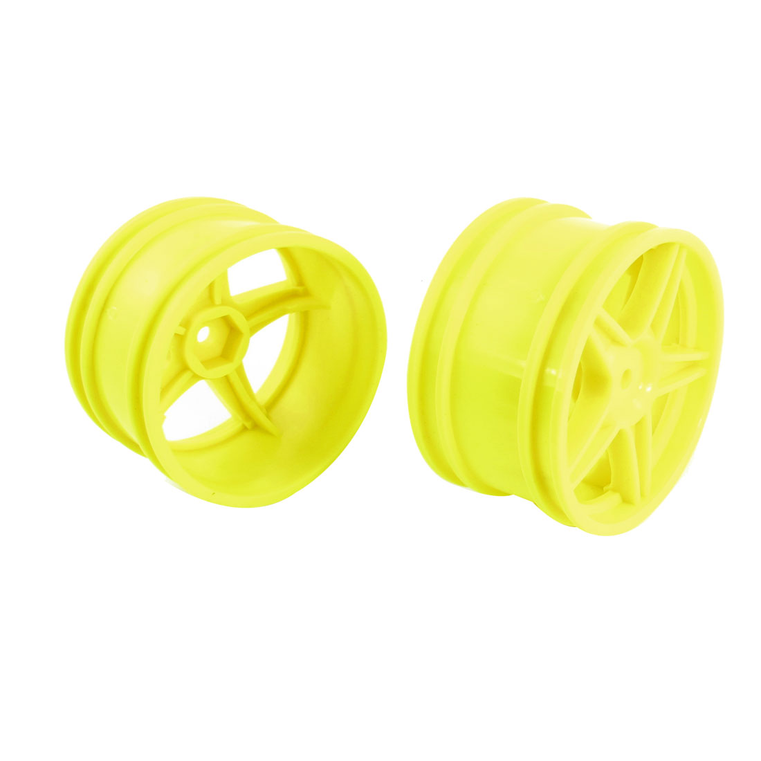 2 Pcs 06024 Plastic Rear Wheel Rim Yellow for 1/10 Buggy Racing Car