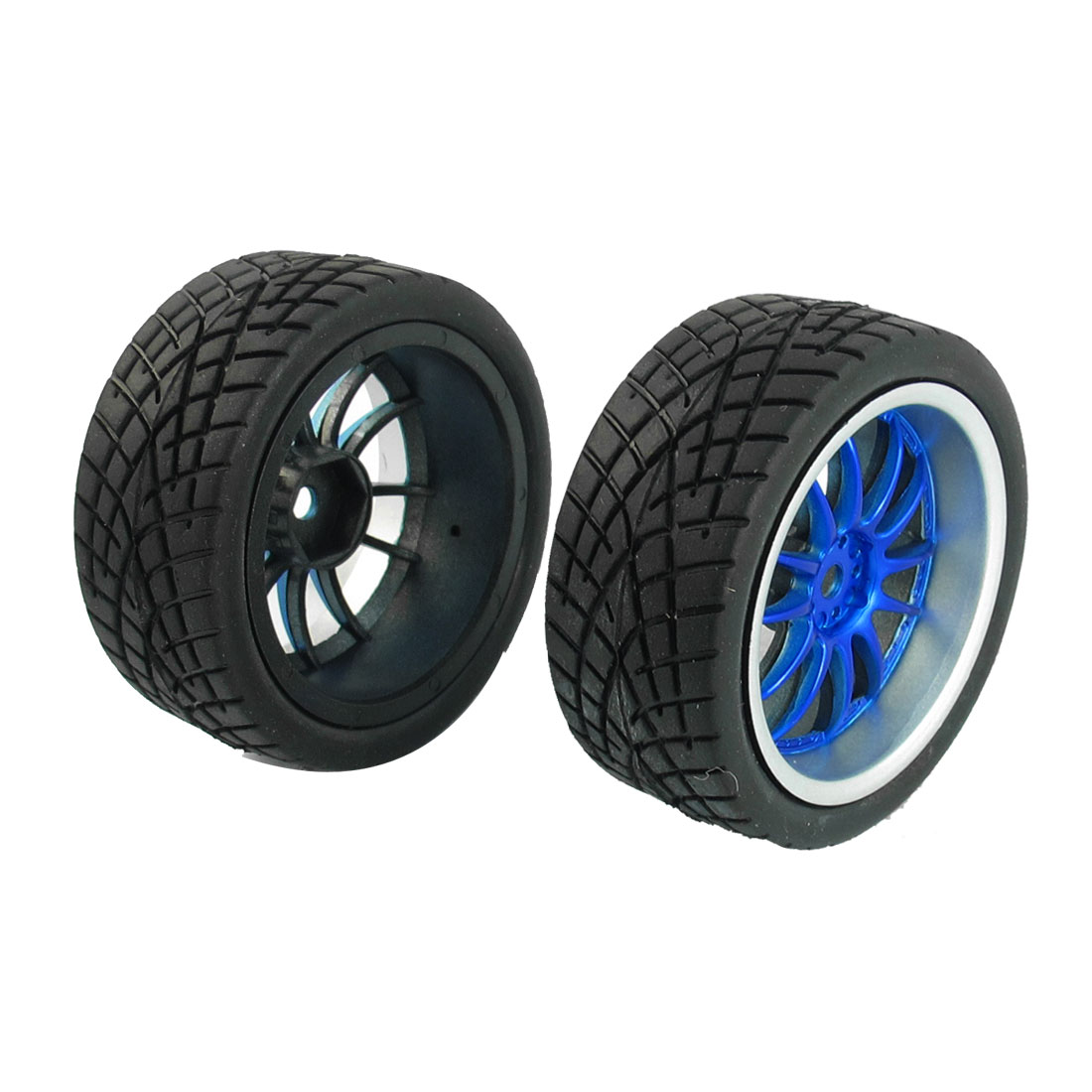 2Pcs Black Blue Wheel Rim Tyre Spare Parts Set for 1/10 Scale RC Buggy Car