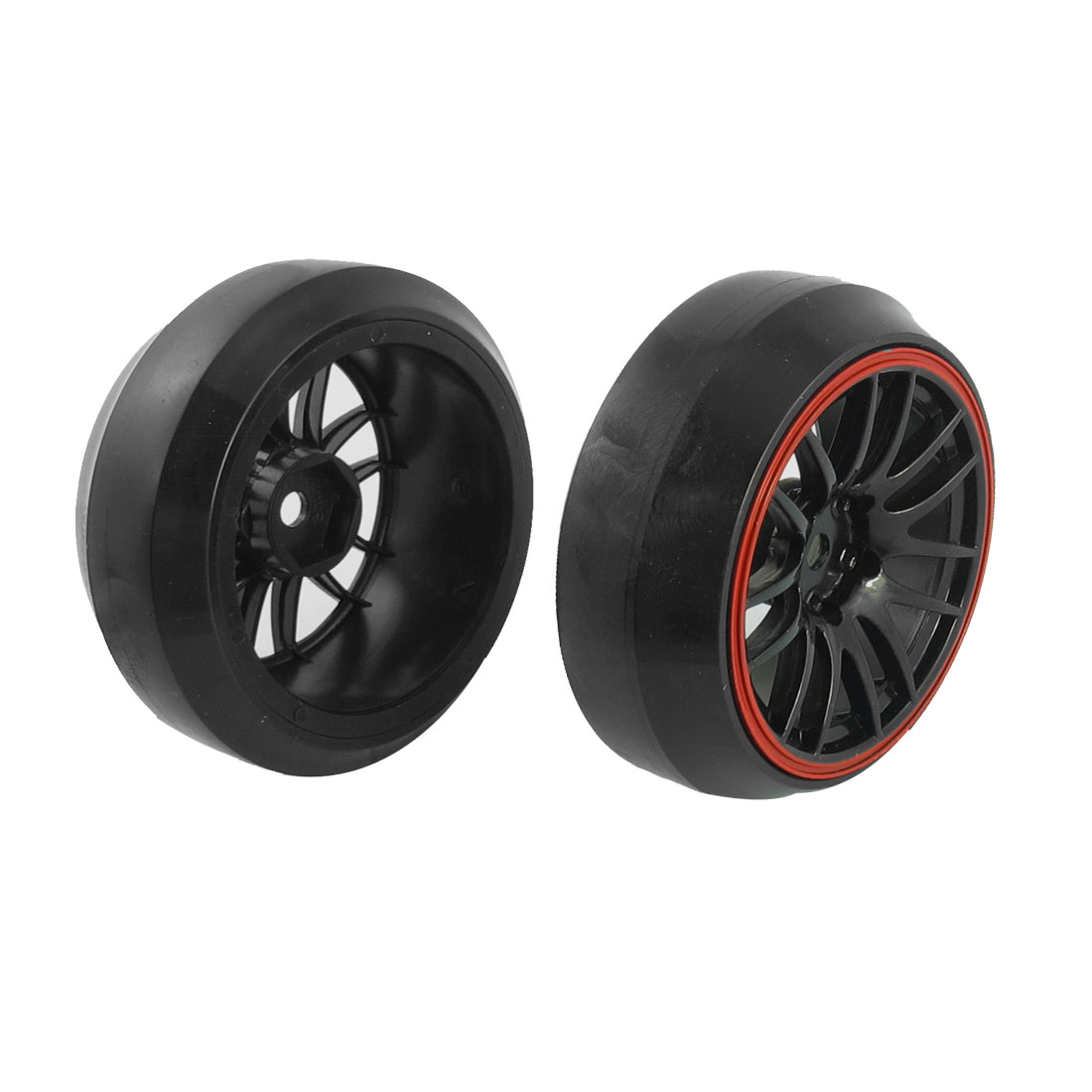 2 Pcs Black Red 1/10 Scale RC Car Direction Drift Wheel Rim Tyre for Yokomo HPI