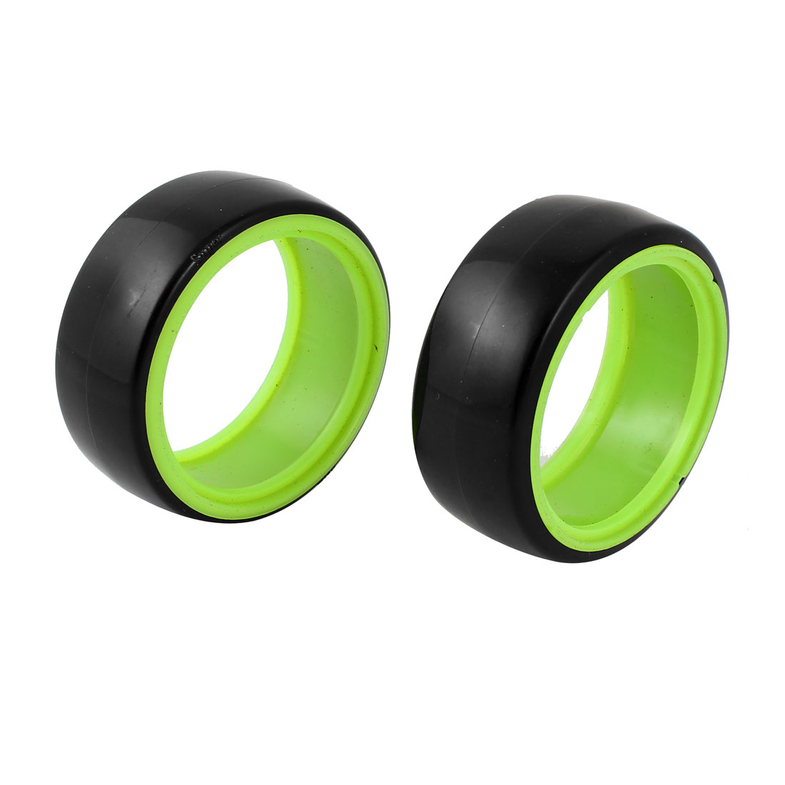 2pcs Black Green 1:10 RC Model Flat Racing Car Truck Drift Wheel Tyre 64mm Dia