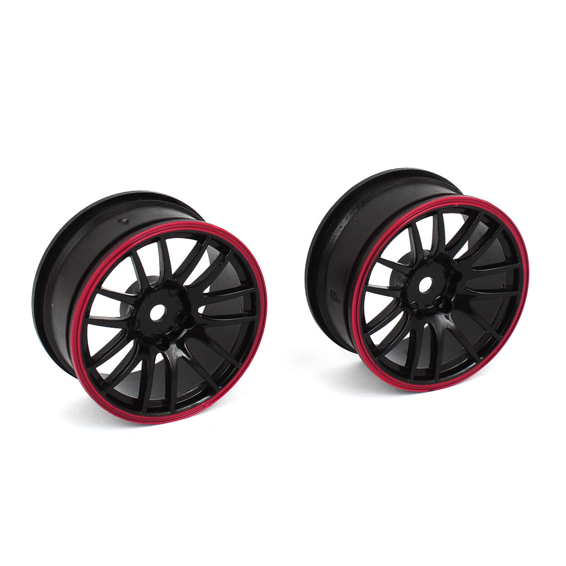 2 Pcs Racing 1/10 Plastic Mesh Drift Wheel Rim Black Red
