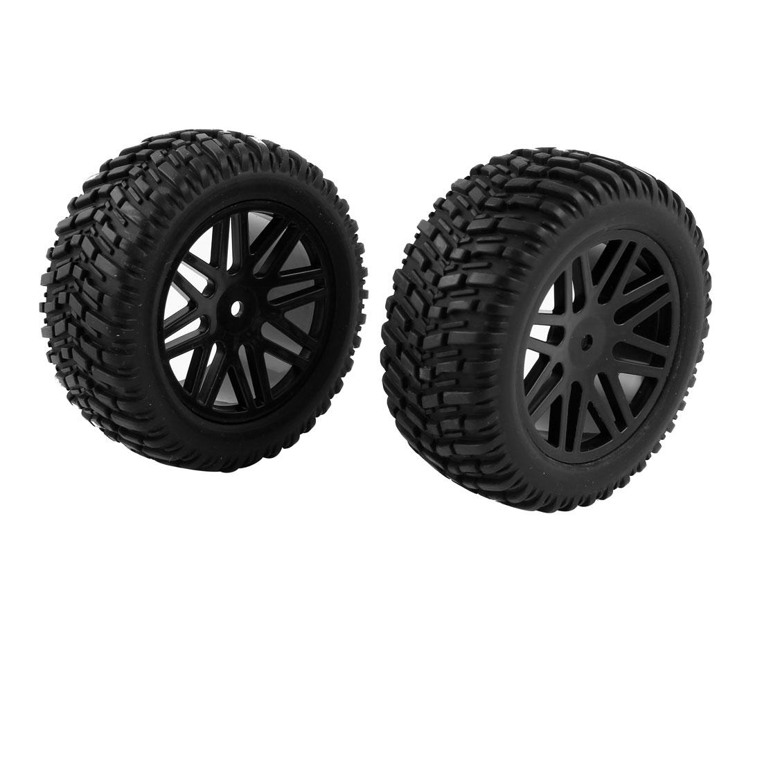 2 Pcs 15502 1/10 Scale RC Off Road Truck Casr Wheels Rims Tyres Black