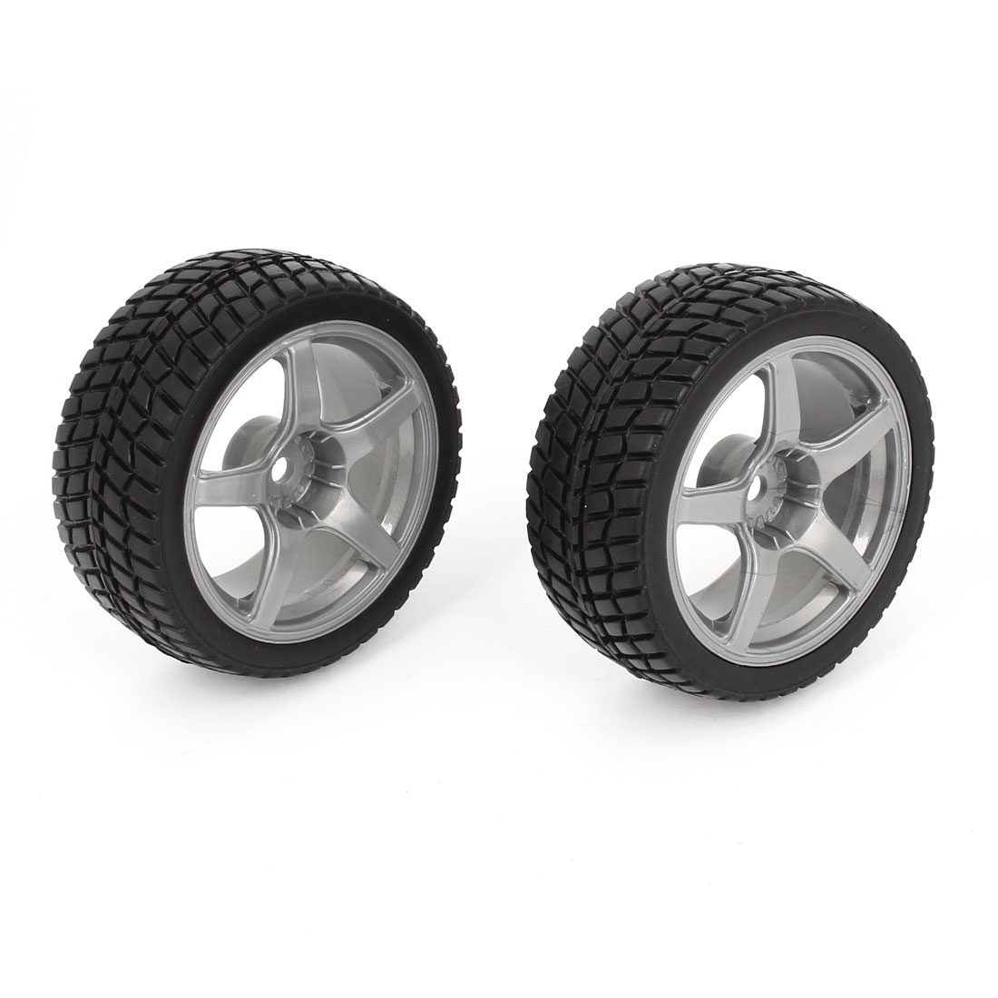 2pcs Black Gray 1:10 RC Model Flat Racing Car Truck Wheel Rim Tyre 67mm Dia