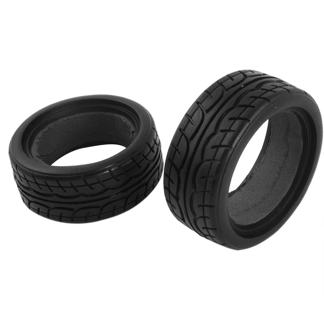 2 Pcs Black Racing Speed Rubber Tires for 1/10 RC Model Flat Car Track