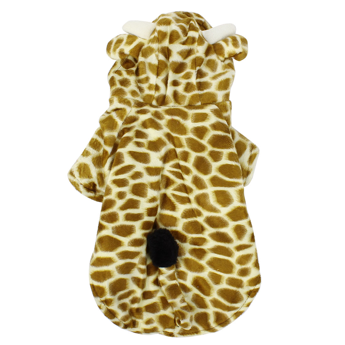 Winter Warm Giraffe Shape Hoodie Single Breasted Sleeved Pet Dog Doggy Apparel Coat Clothes Coffee Color Beige XS