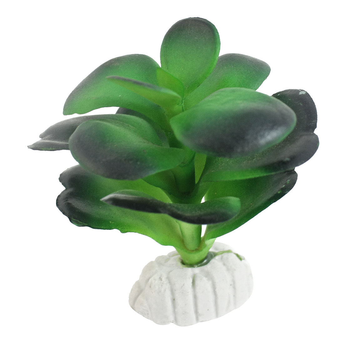 "3.1"" Height Plastic Fish Tank Ceramic Base Water Grass Plant Decor Green"
