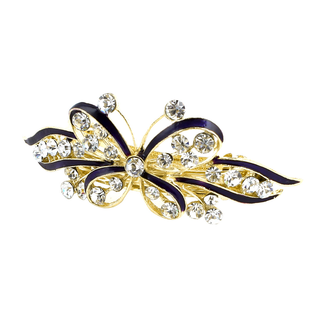 Women Bowknot Design Shiny Rhinestone Decor French Barrette Clip Hair Clamp