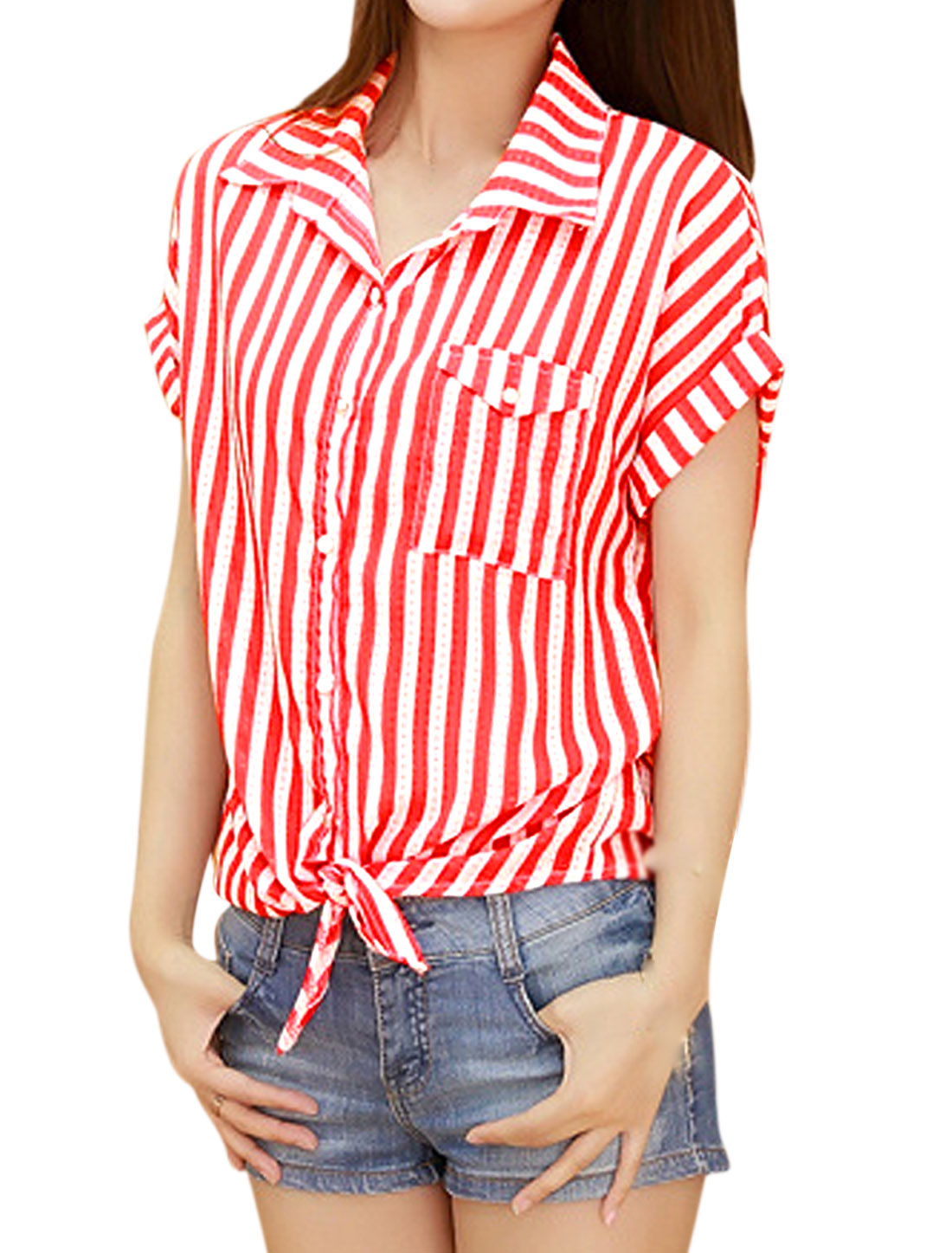 Women Short Sleeve Single Breasted Tie Hem Stripes Blouse Red M