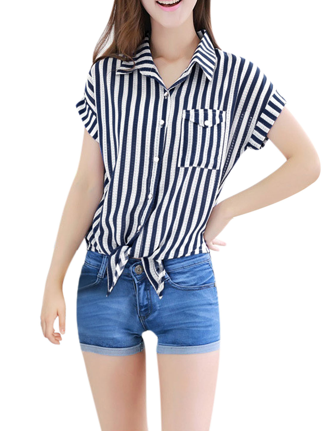 Women Short Sleeves Tie Front Casual Striped Shirts Navy Blue M
