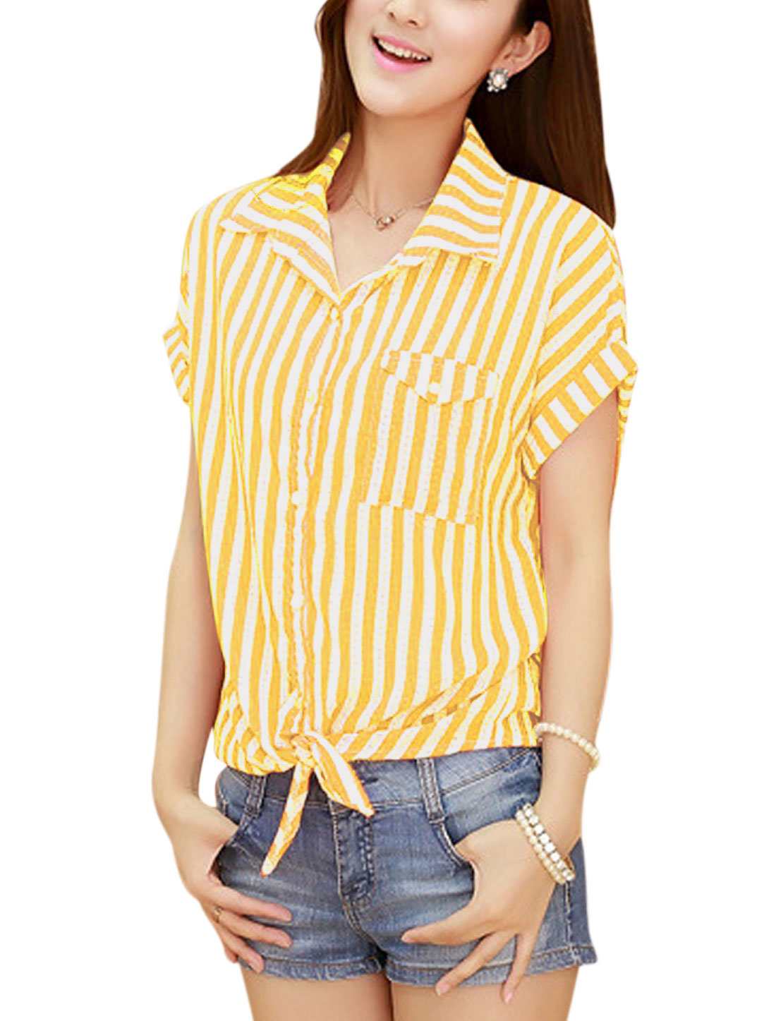 Women One Chest Pocket Single Breasted Blouse Yellow M
