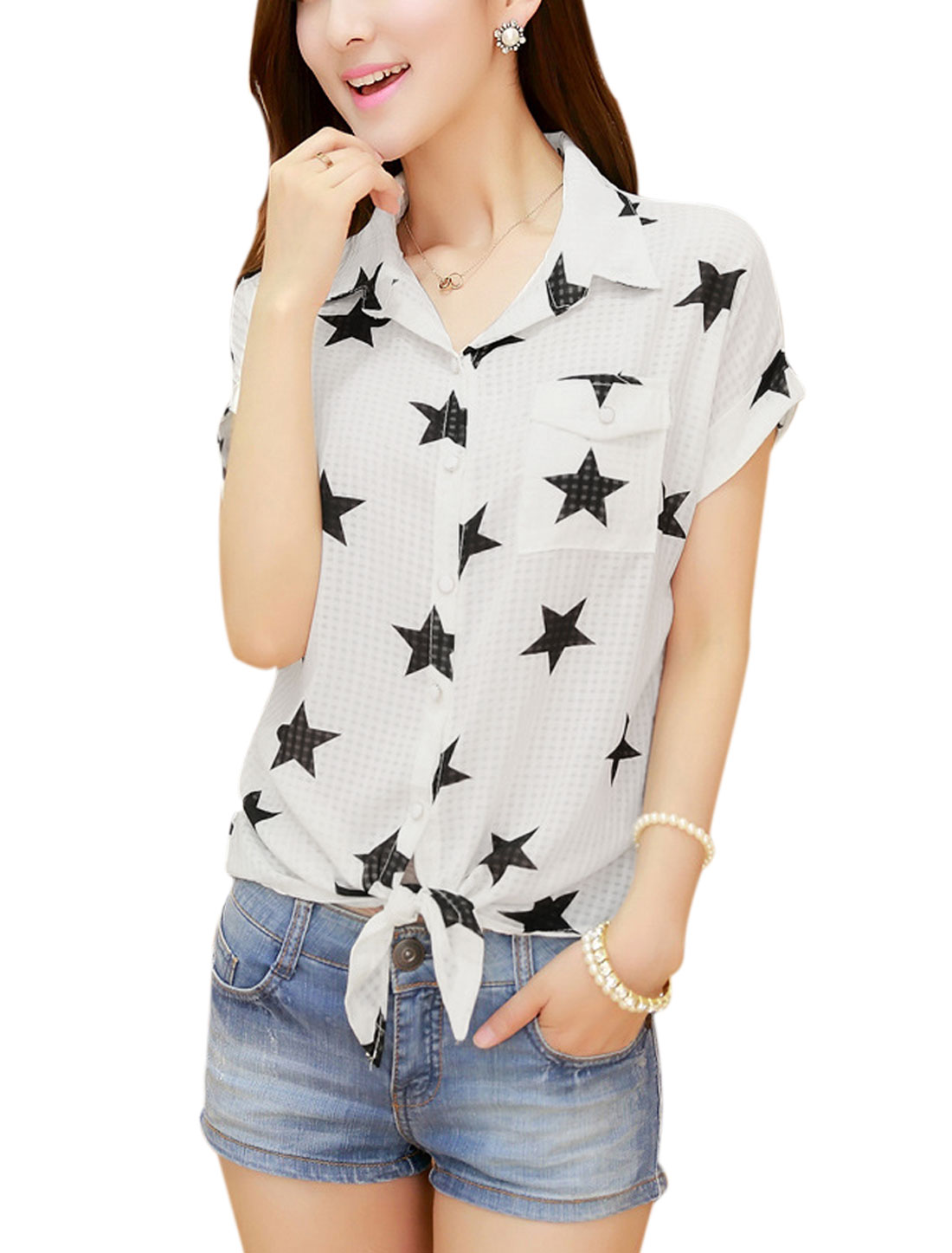 Lady's Short Sleeve Single Breasted Stars Pattern Tie Hem Chiffon Blouse White M
