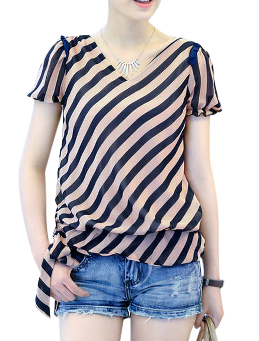 Women Cozy Fit V Neck Oblique Stripes Full Lined Chffion Top Navy Blue Coral Pink M