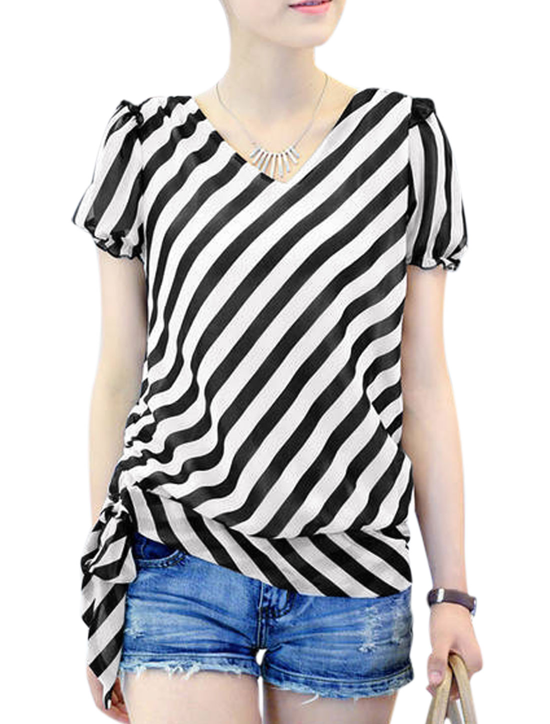 Women Cozy Fit Bow-tie Hem Oblique Stripes Chffion Top Black White M