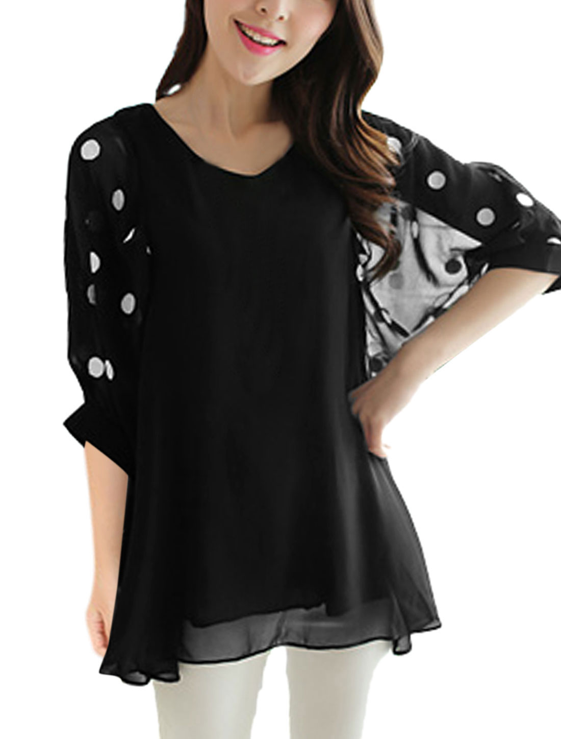 Summer Pullover V Neck Leisure Tunic Blouse for Women Black S