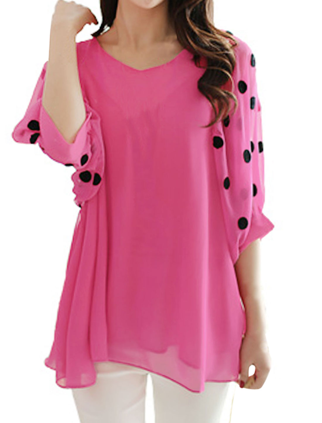 Women Dots Embroidery Lining Casual Tunic Blouse Fuchsia S