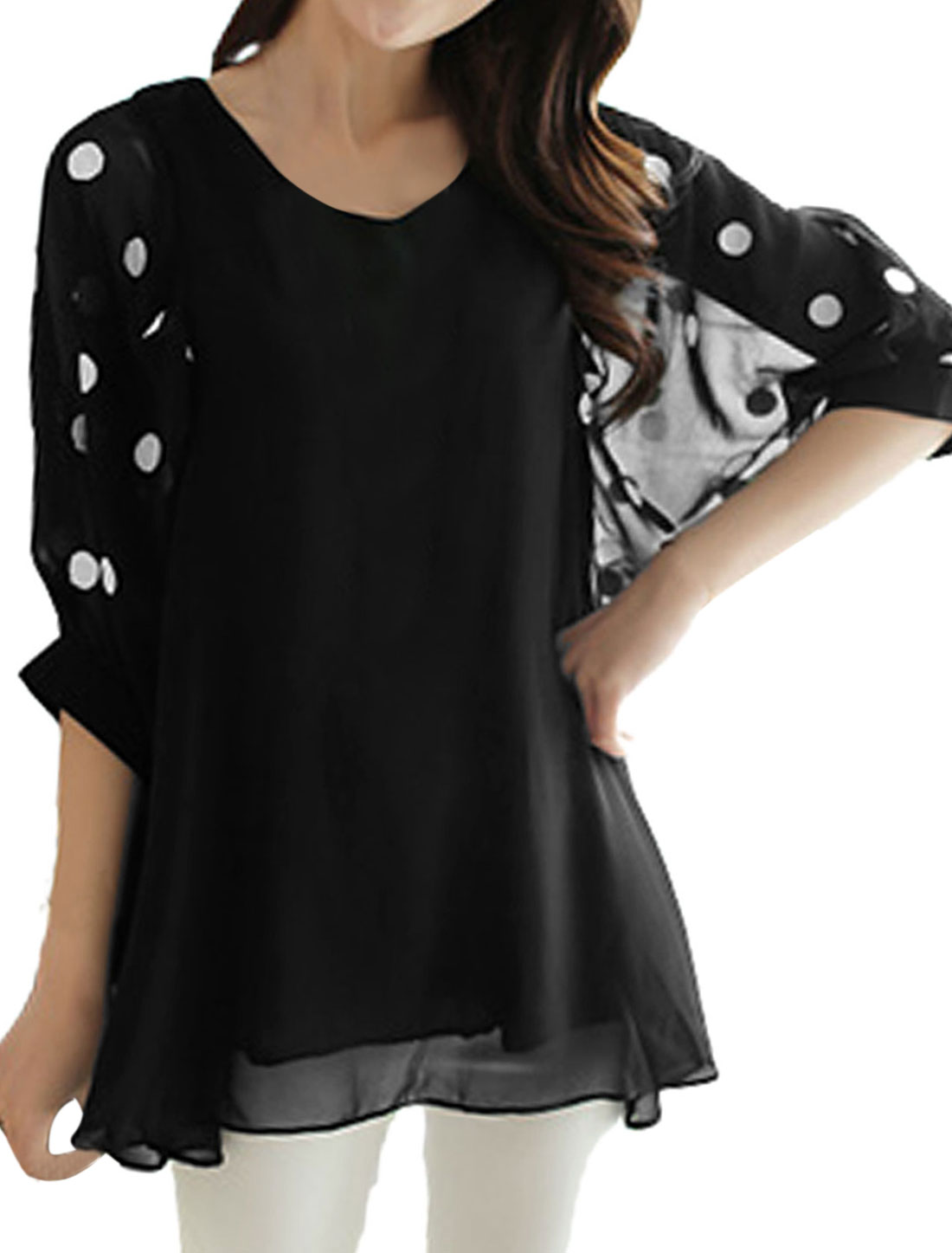 Women V Neck Batwing Sleeve Lining Chiffon Casual Tunic Blouse Black M