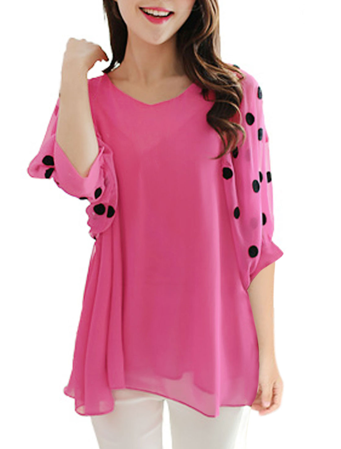 Women V Neck Lining Pullover Tunic Blouse Fuchsia M