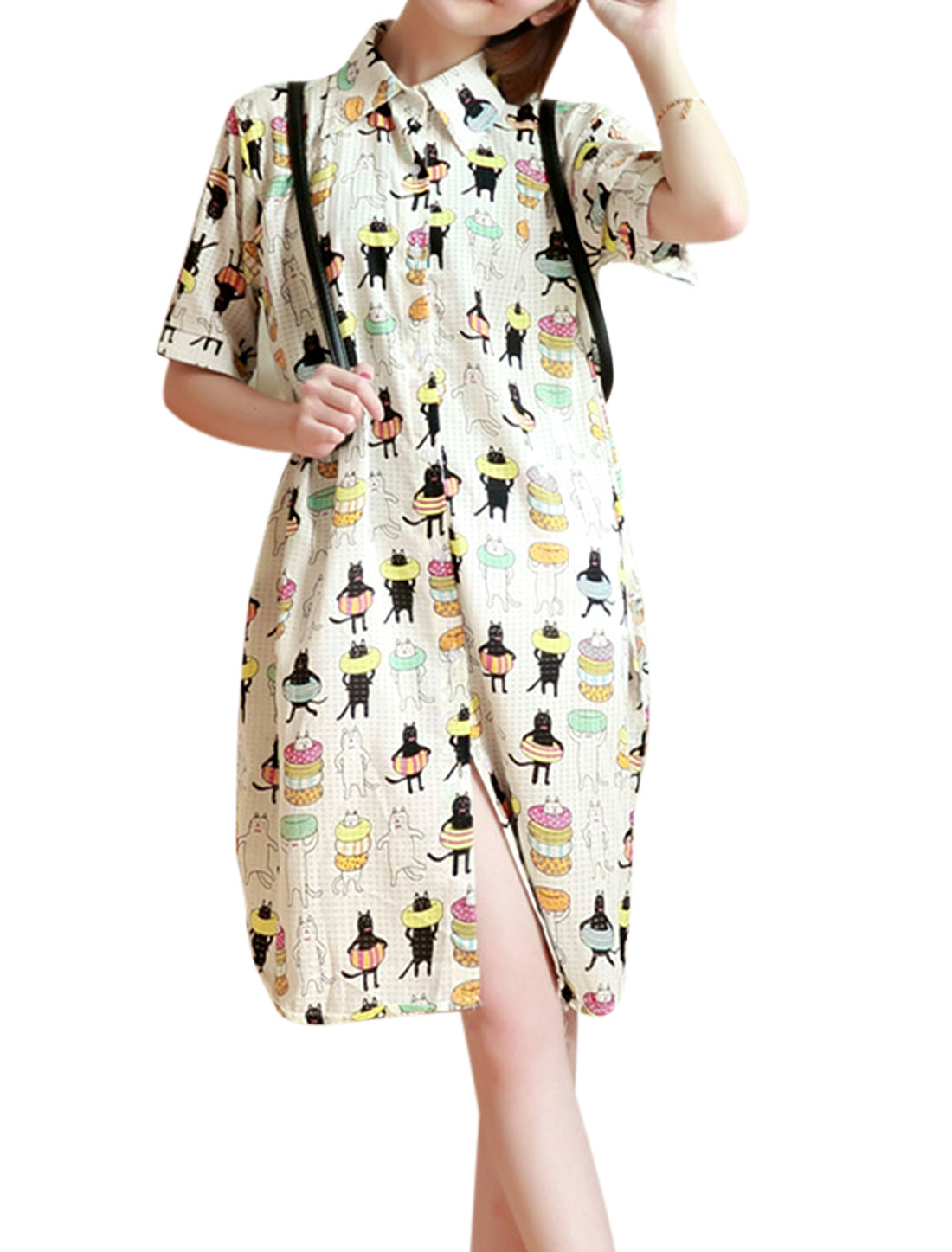 Lady Elbow Sleeve Single Breasted Cartoon Prints Split Side Long Shirt White S
