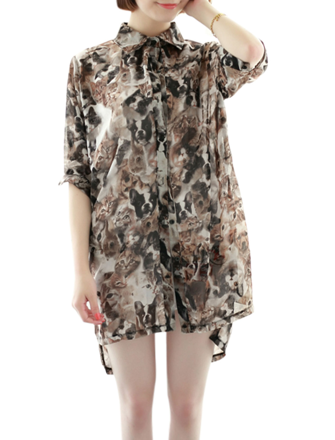 Women Single Breasted All-over Cats Prints High Low Hem Cardigan Coffee XS
