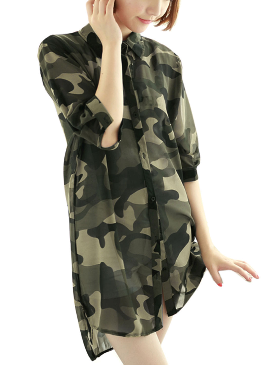 Lady Elbow Sleeve Single Breasted Camouflage Pattern Chiffon Tunic Shirt Army Green XS