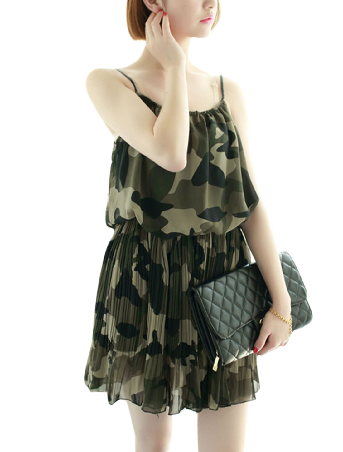 Women Spaghetti Strap Camouflage Pattern Pleated Chiffon Short Dress Army Green XS