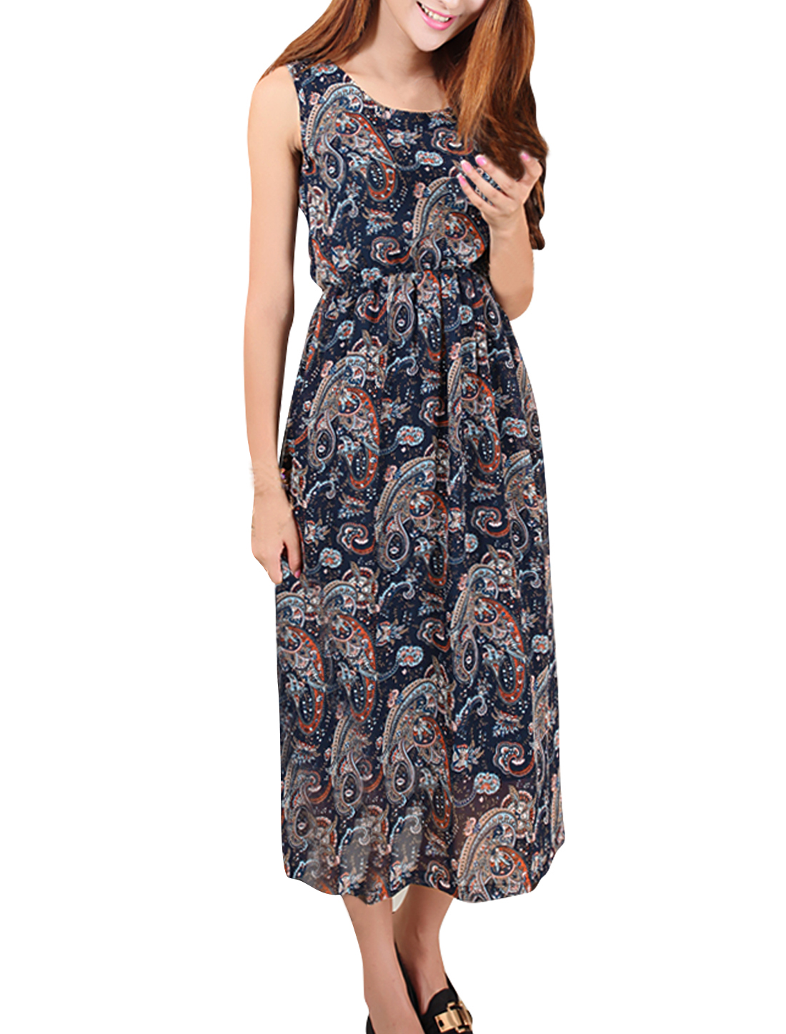 Women Stretchy Waist Paisley Pattern Lining Chiffon Dress Navy M