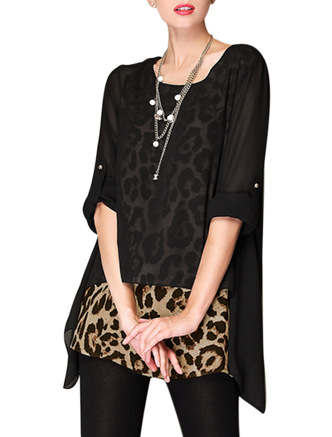 Women Leopard Prints Layered Shirts Lining Chiffon Tunic Blouse Black S