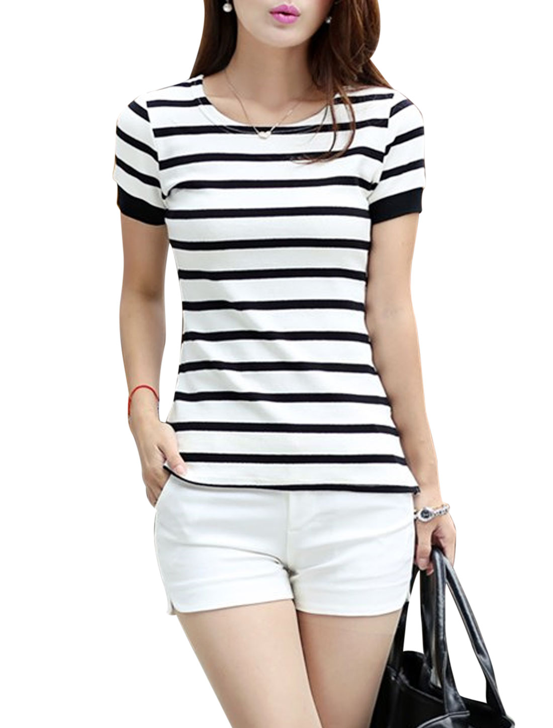 Lady's Short Sleeve Horizontal Stripes Split Side Casual T-shirt White M