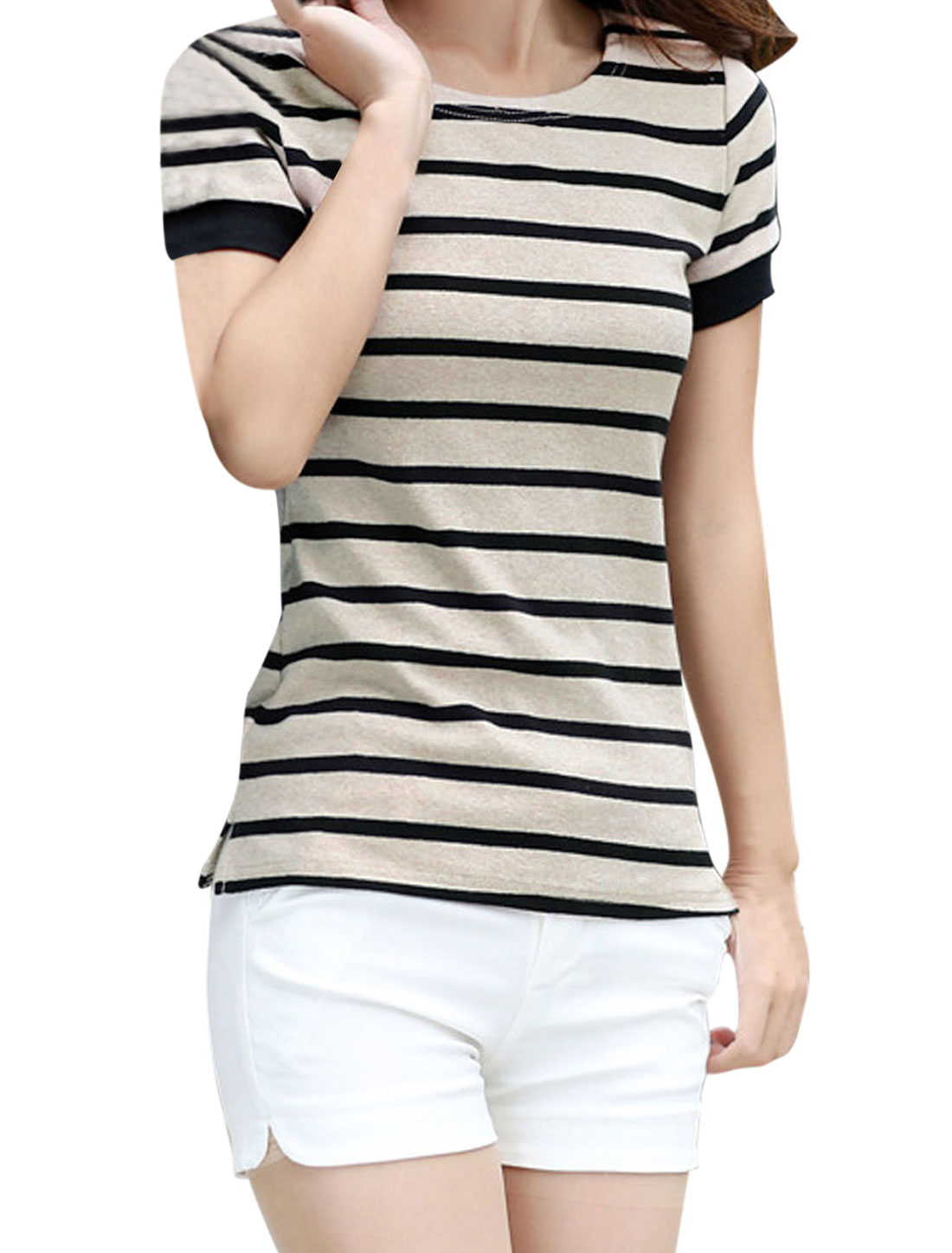 Lady's Summer Fit Bar Striped Short Sleeve Casual T-shirt Dark Beige M