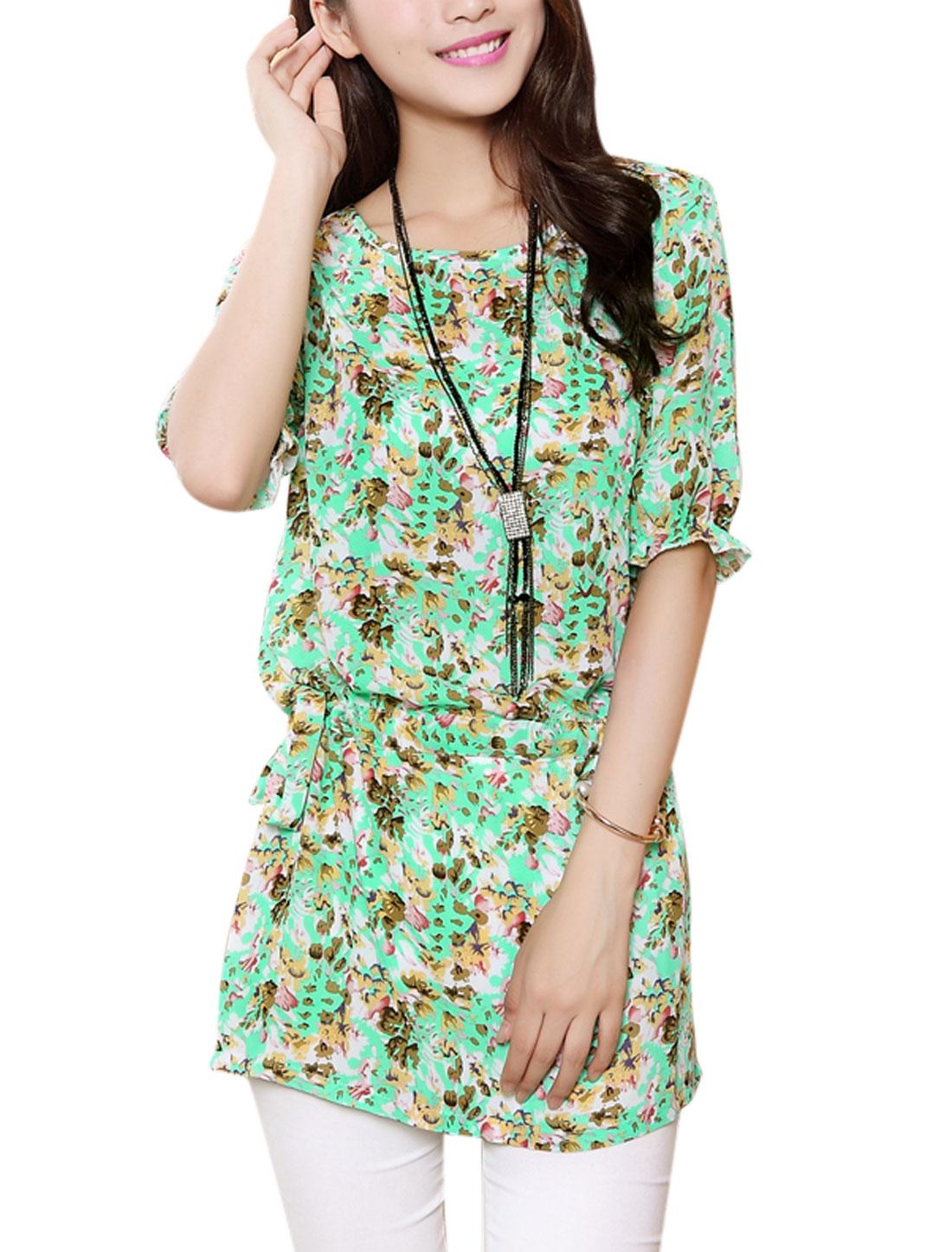 Women Short Sleeve Floral Pattern Drawstring Waist Chiffon Tunic Blouse Aqua XS
