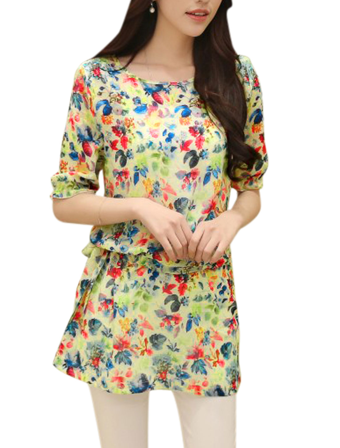 Lady Floral Pattern Drawcord Waist Chiffon Tunic Blouse Multicolor XS