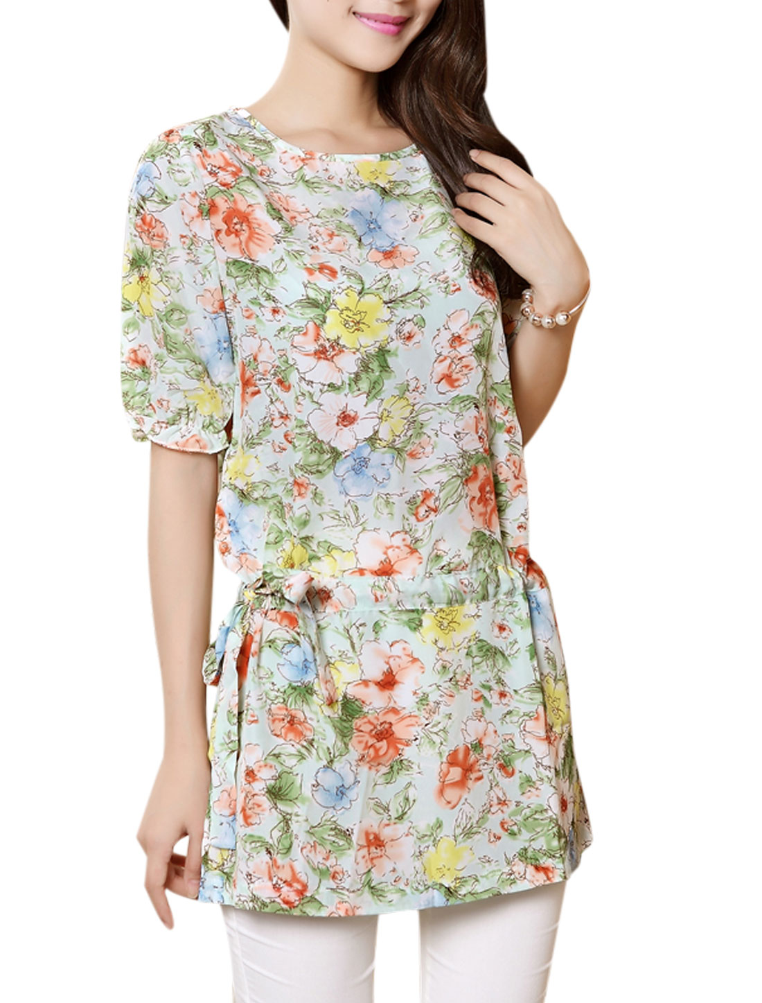 Lady Short Sleeve Drawcord Waist Floral Pattern Tunic Blouse Aqua XS