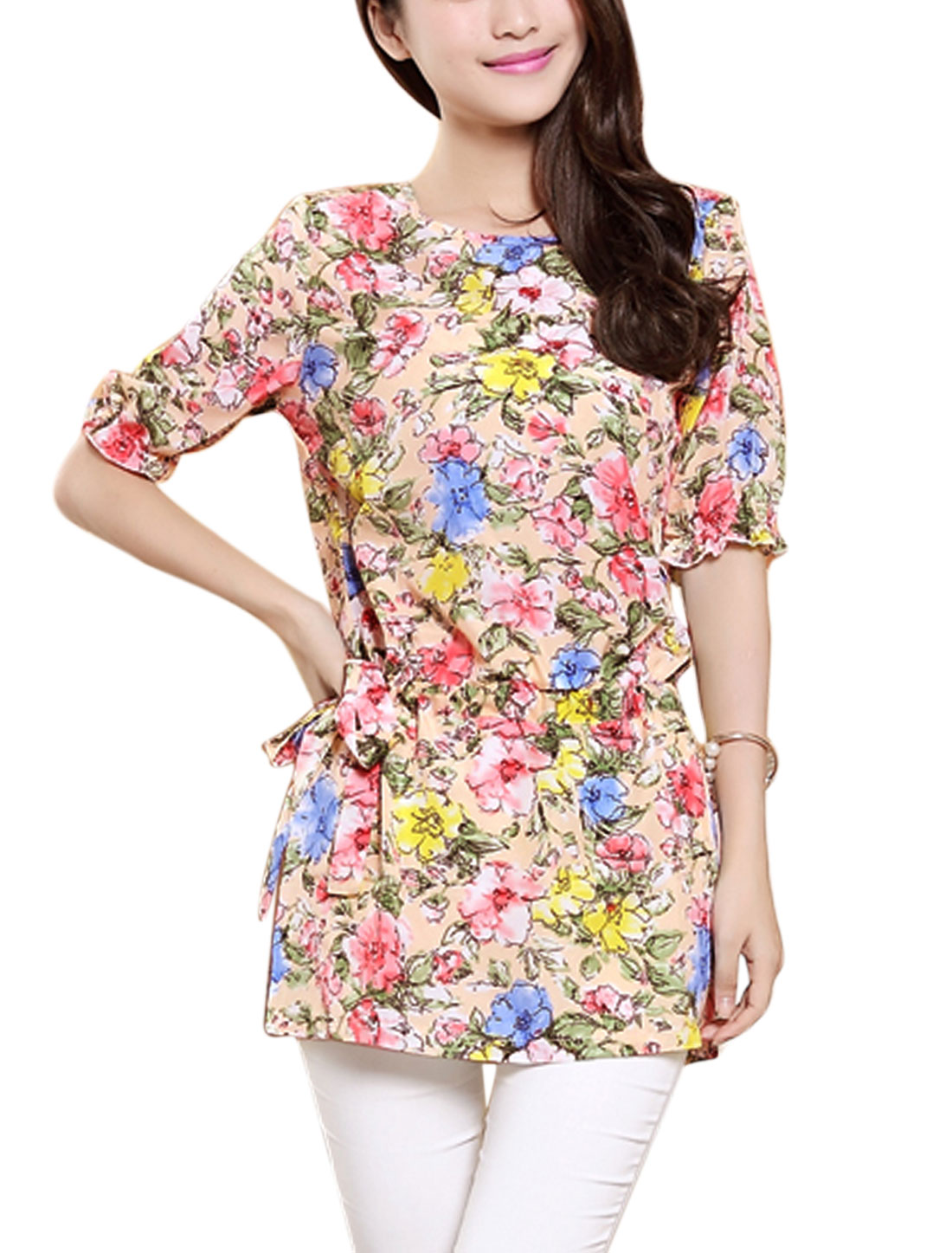 Lady Elastic Cuffs Drawstring Waist Floral Prints Tunic Top Multicolor XS