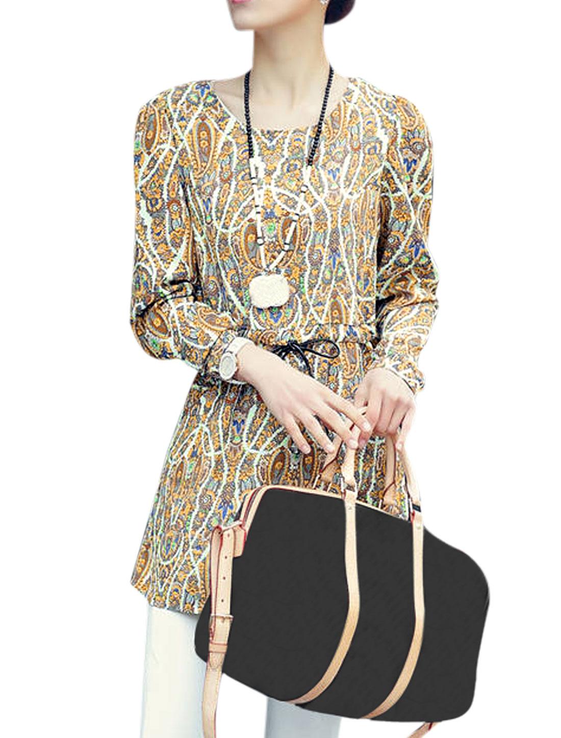 Lady's Long Sleeve Paisleys Drawstring Waist Chiffon Tunic Blouse Dark Yellow S
