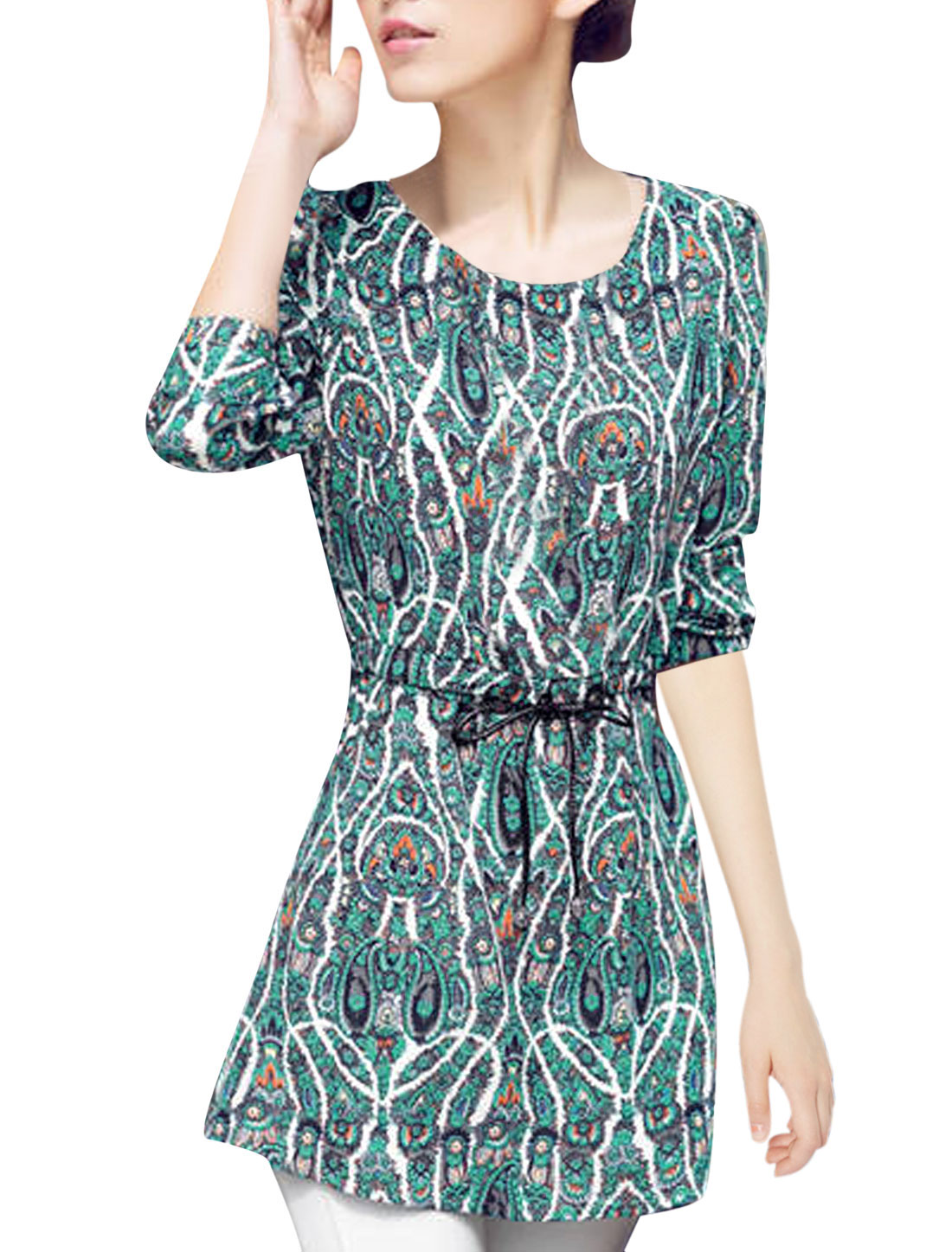 Lady Drawcord Waist Slant Pockets Front Leisure Tunic Blouse Sea Green S