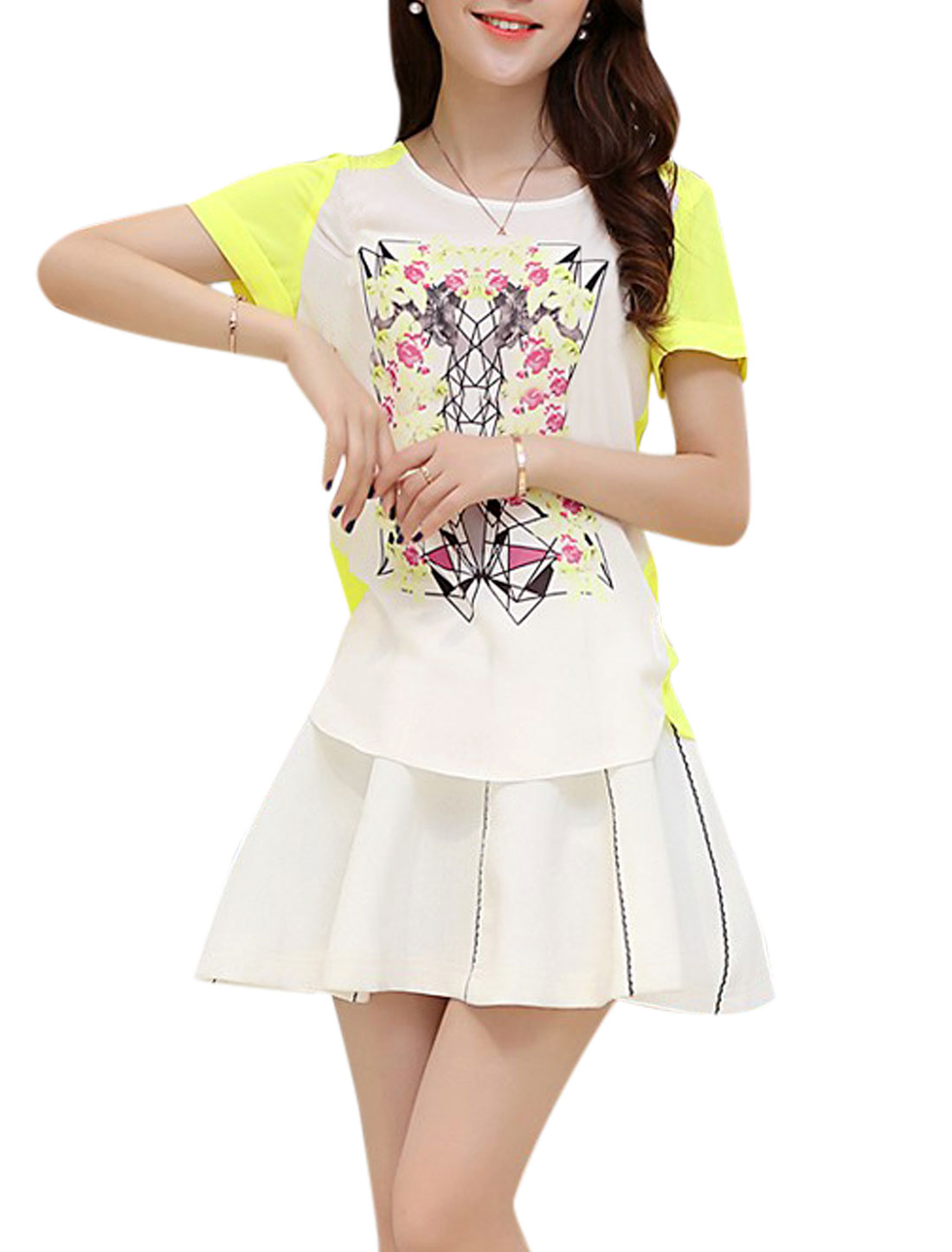 Lady Short Sleeve Floral Prints Colorblock Chiffon Top White Yellow S