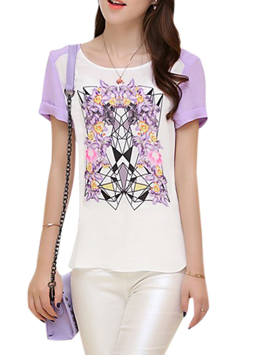 Lady Short Sleeve Geometric Prints Colorblock Chiffon Top White Lavender S