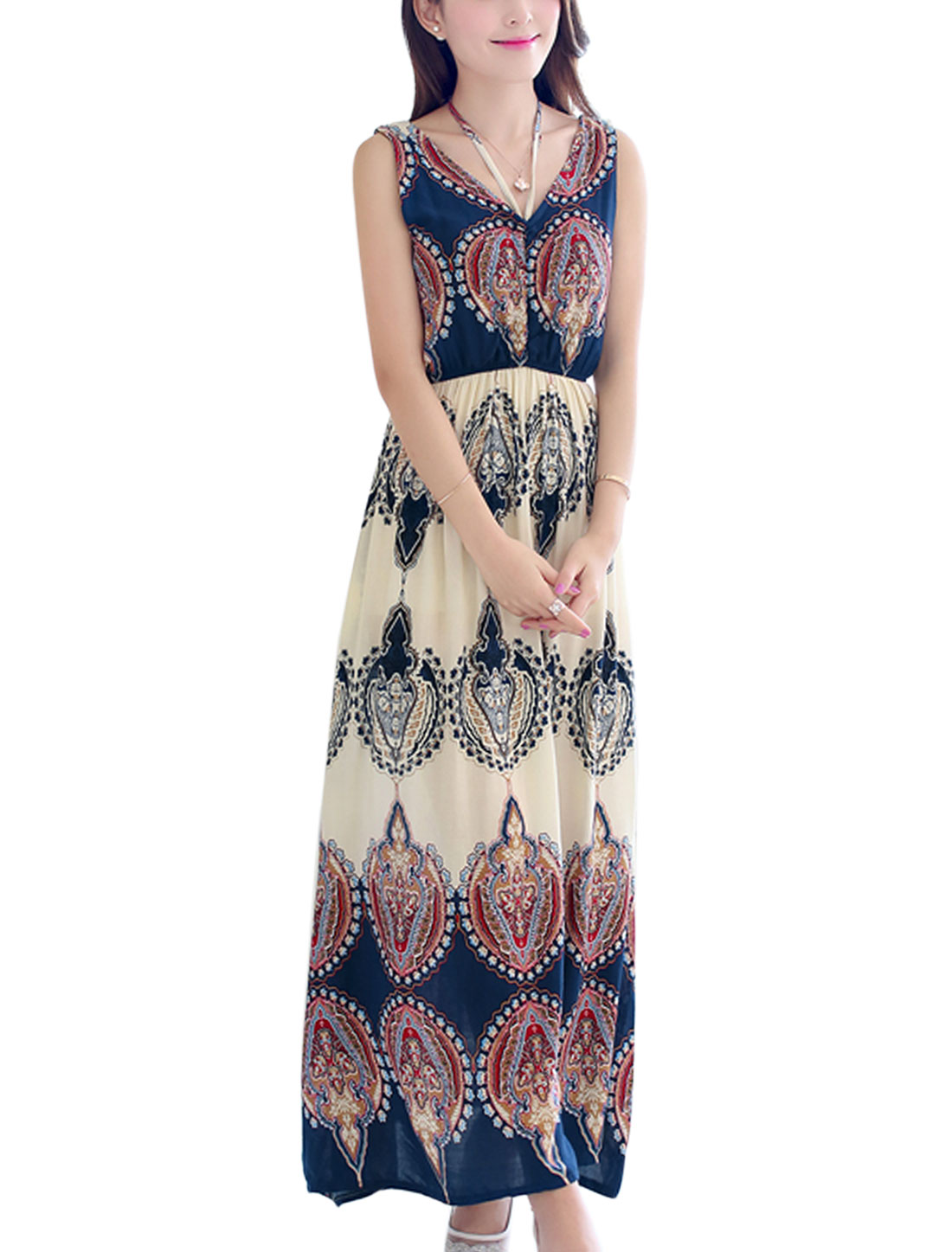 Ladies NEW V Neck Novelty Prints Full Length Maxi Dress Beige Navy Blue S