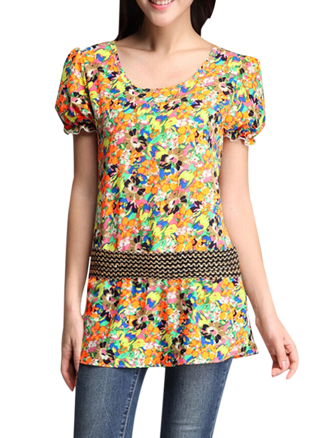 Lady's Short Sleeve Floral Pattern Elastic Belt Waist Chiffon Tunic Blouse Multicolor M