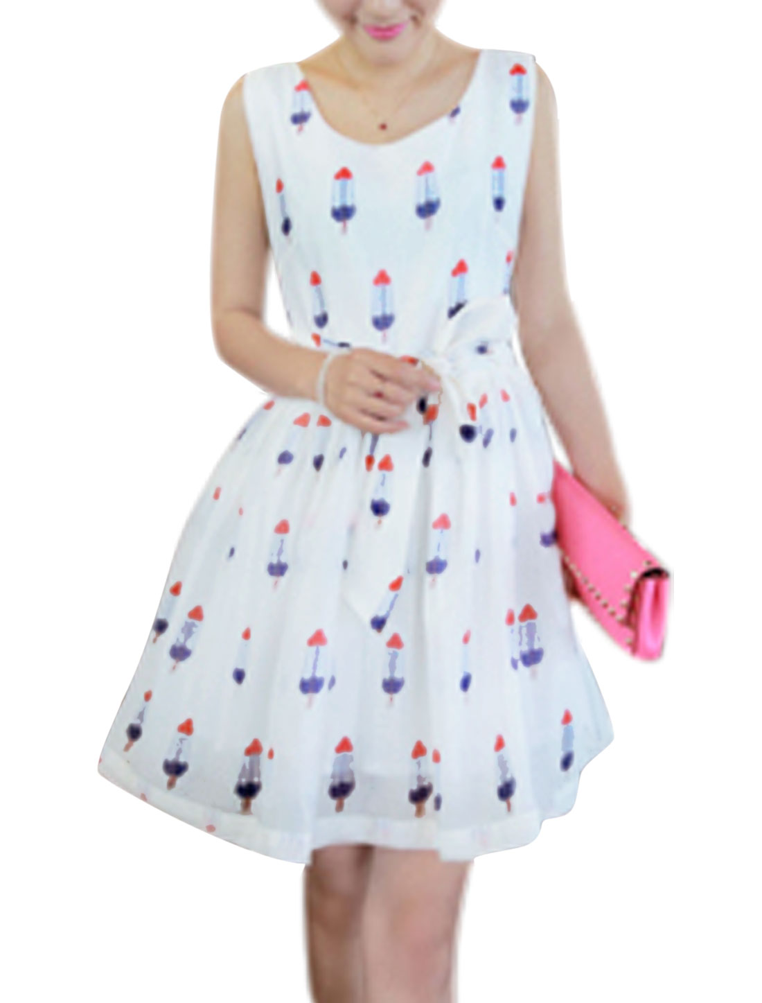 Lady's Sleeveless Ice Cream Pattern Self Tie Strap Waist Short Dress White S