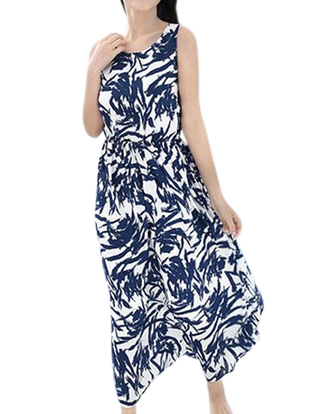 Lady's Sleeveless Elastic Waist Novelty Pattern Chiffon Long Dress Dark Blue M