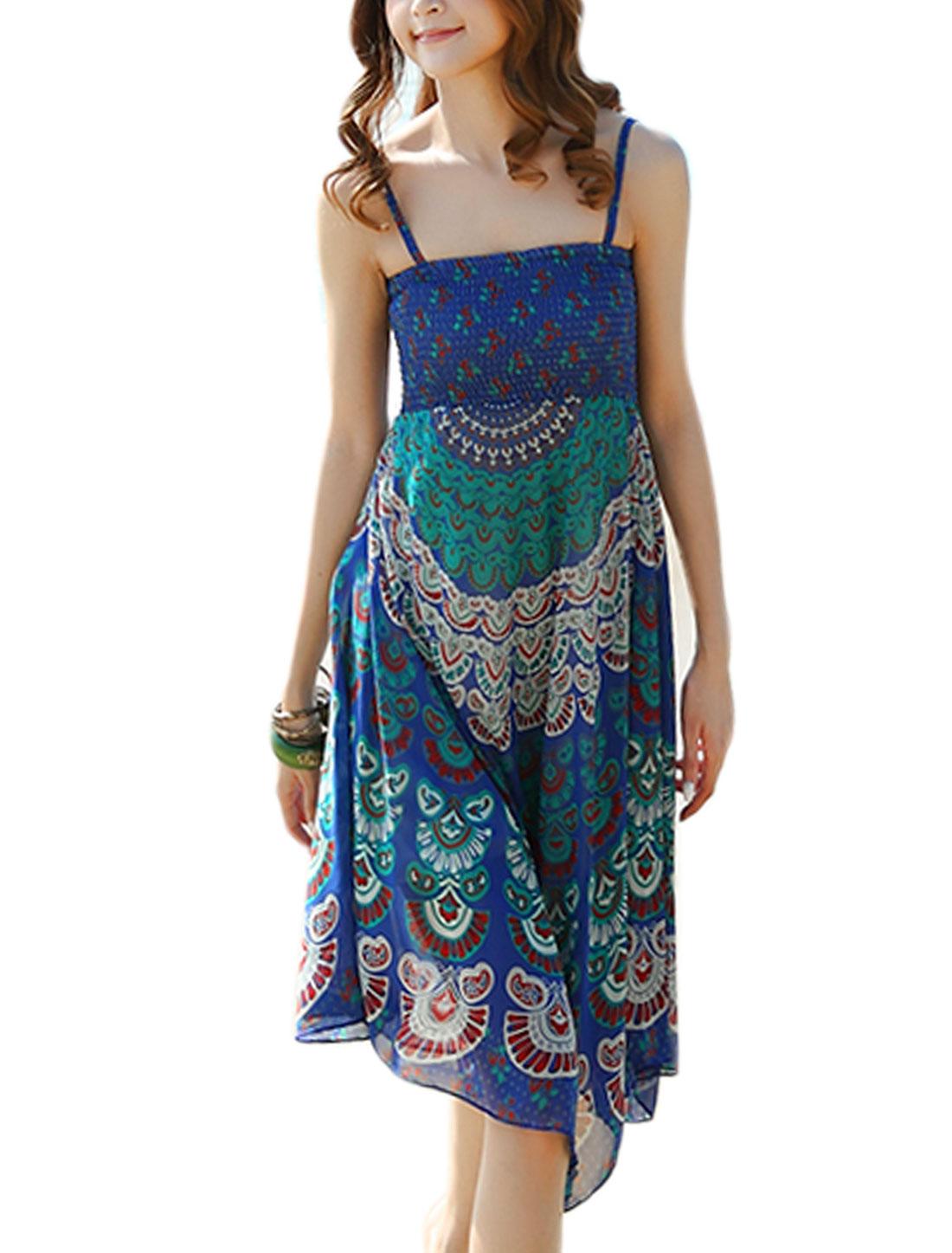 Women Stretchy Detail Peacock Feathers Pattern Chiffon Asymmetrical Hem Dress Blue XS